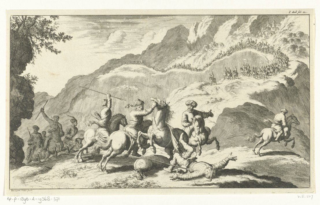 Armenians attacked by rovers, Jan Luyken, 1682