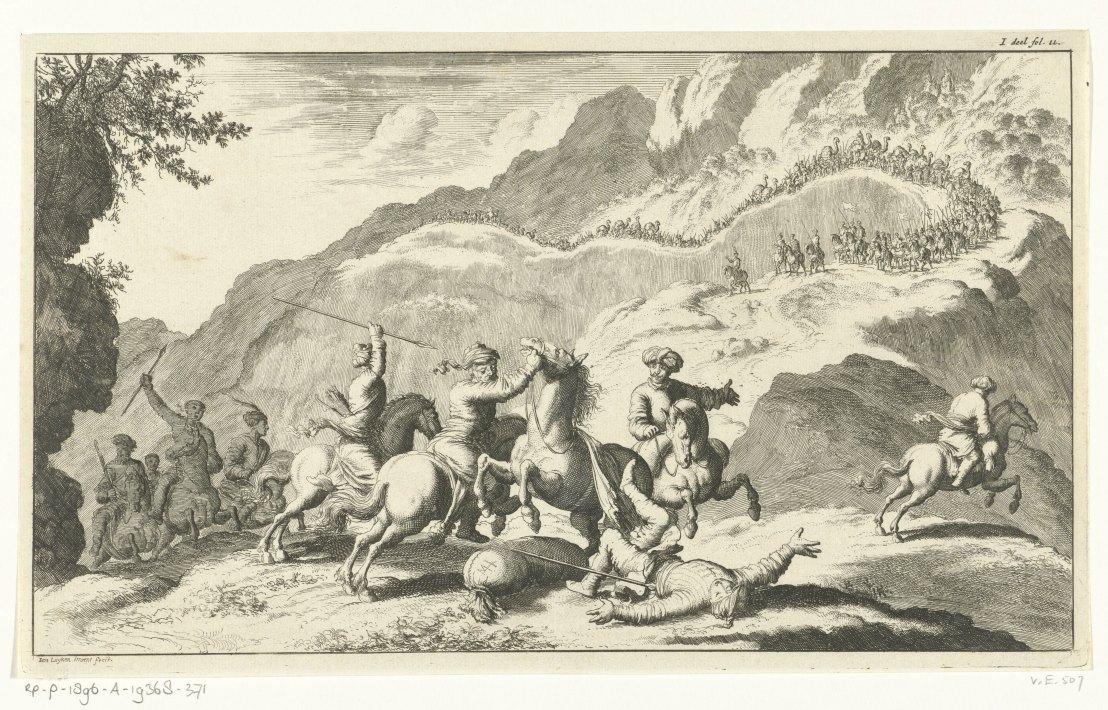Armenians attacked by rovers, Jan Luyken, 1682