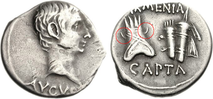 Roman coin with the inscription on the reverse : Armenia Capta, Augustus,  Struck 19 BC.