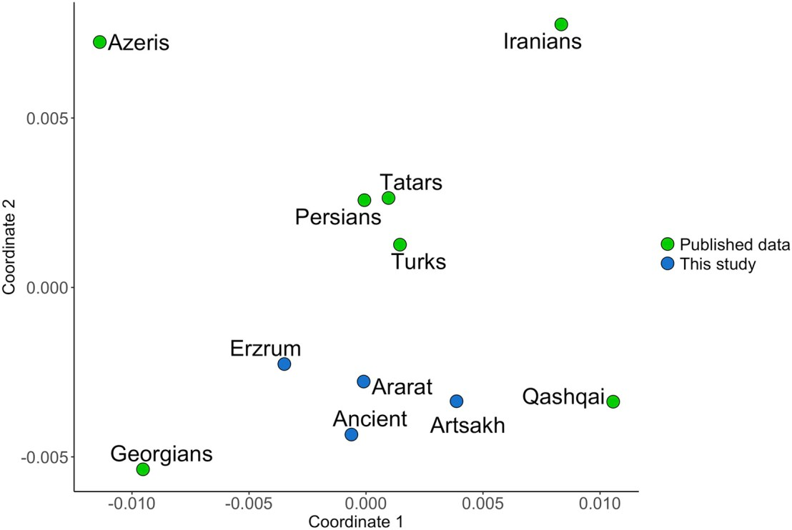 The MDS analysis showing Armenians cluster close to ancient inhabitants of the Armenian Highlands.