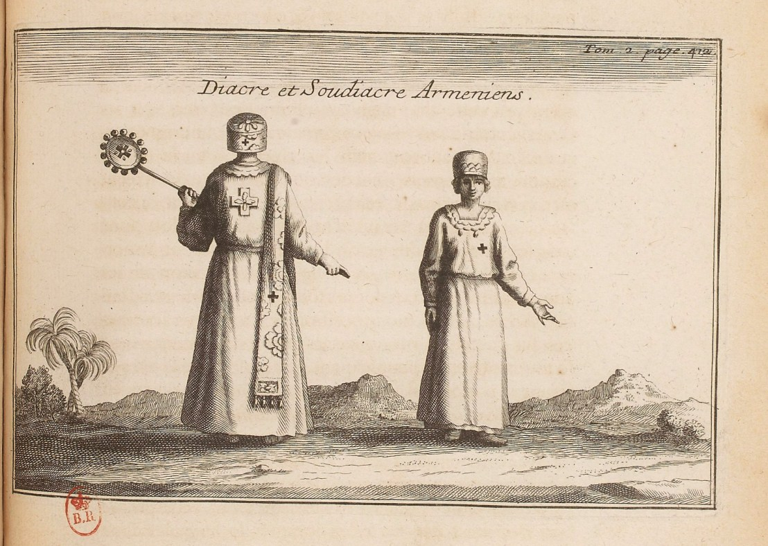 Illustration of Armenian Deacon and Subdeacon by  Joseph Pitton de Tournefort (1656-1708)