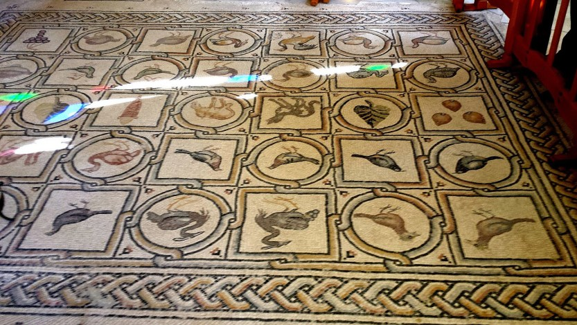 Armenian bird mosaic in the Russian Orthodox Convent of the Ascension, 5th-6th-century AD Jerusalem