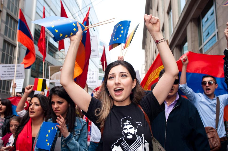 Armenian in Belgium (Brussels) protesting during the centenial of the Armenian Genocide (2015)