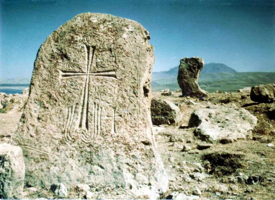 Medieval Armenian gravestones, Lake Van.