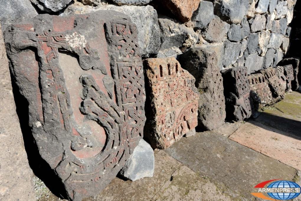Cross stones at the burial site of the Armenian Arsacid kings