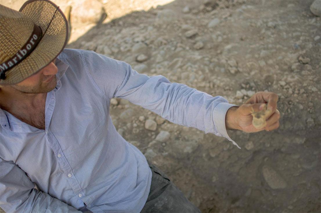 Dr. Armen Martirosian holding an excavated bone