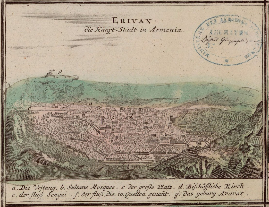 Yerevan illustrated by Johann Baptist Homann (1663-1724)