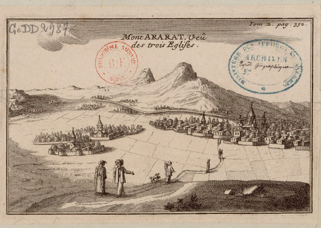 Illustration of Etchmiadzin (city of three churces) and Mount Ararat in the background by  Joseph Pitton de Tournefort (1656-1708)