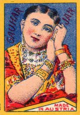 Illustration of Gauhar Jaan on a Matchbox made in Austria