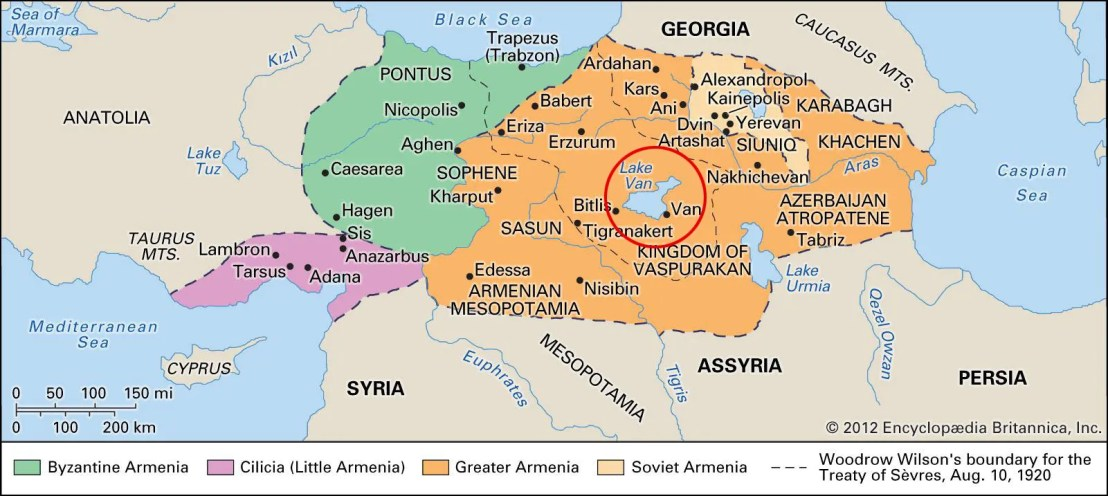 Map of historic Armenian with Lake Van at its center. (from Encyclopædia Britannica Online) https://www.britannica.com/place/Armenia?oasmId=3764