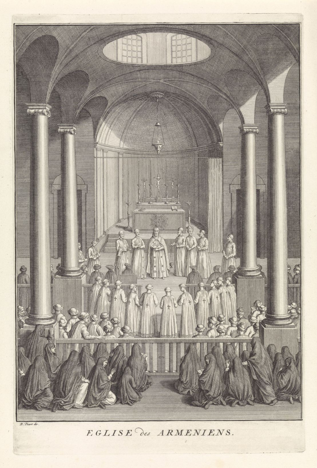 Interior of the Armenian Apostolic church, Bernard Picart (workshop of), 1733
