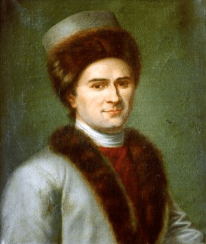 Another painting of Jean-Jacques Rousseau (28 June 1712 – 2 July 1778) in Armenian costume. This painting, attributed to Gérard, is in the Public and University library of Geneva.