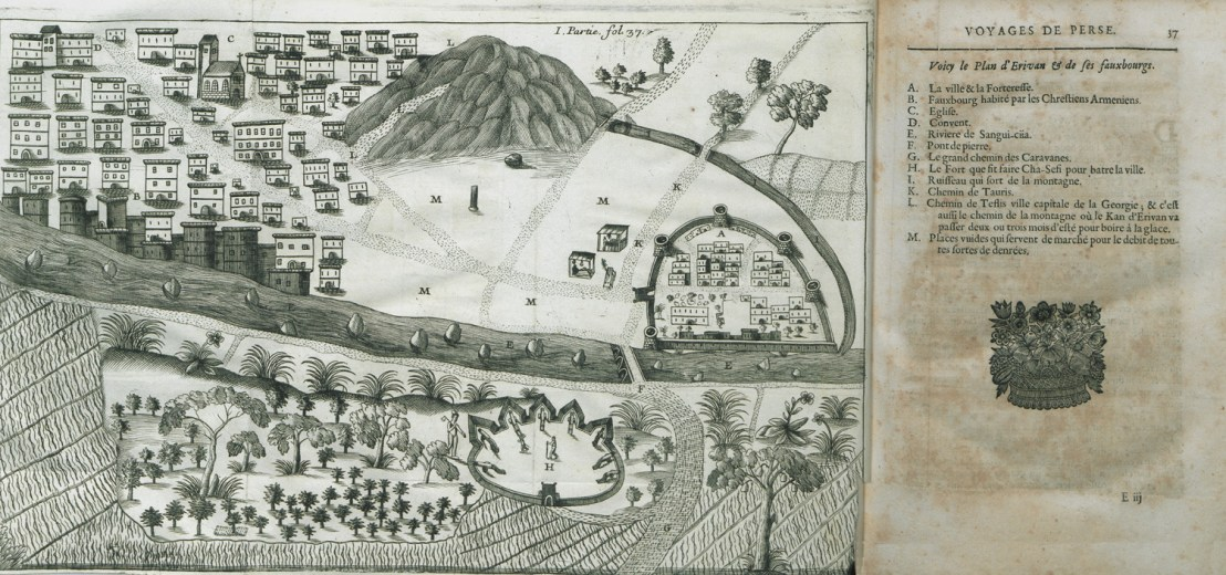 Map of Yerevan and its environs from Six Voyages of Jean-Baptiste Tavernier, 1676
