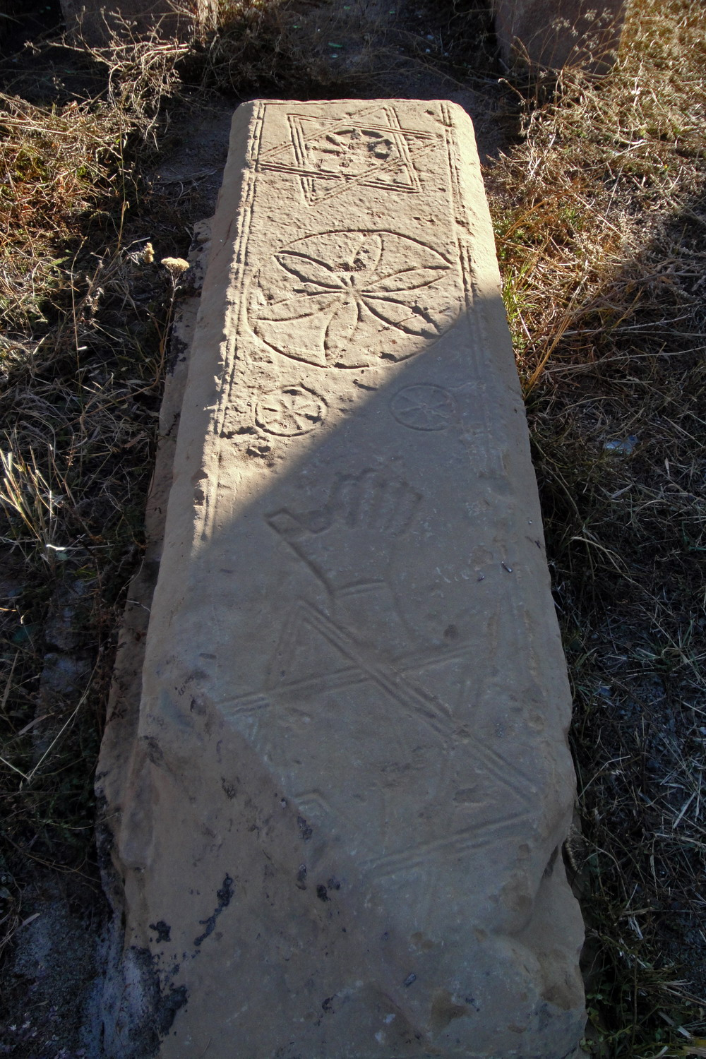 Medieval Armenian timbstone with hexagram and hand