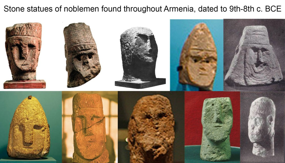 Stone statues of noblemen found throughout Armenia, dated to 9th-8th c. BCE