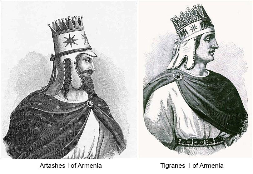"""Illustration of Tigranes II and Artashes I, from East to West: Exhibition of Armenian Historical Postcards (1897-1920)"""" by Berc Fenerci"""