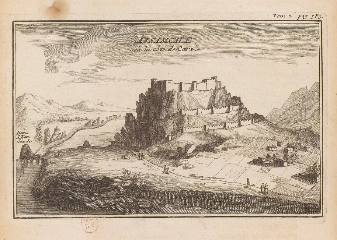 Illustration of View of Hasankale fortress from the route to Kars by  Joseph Pitton de Tournefort (1656-1708)