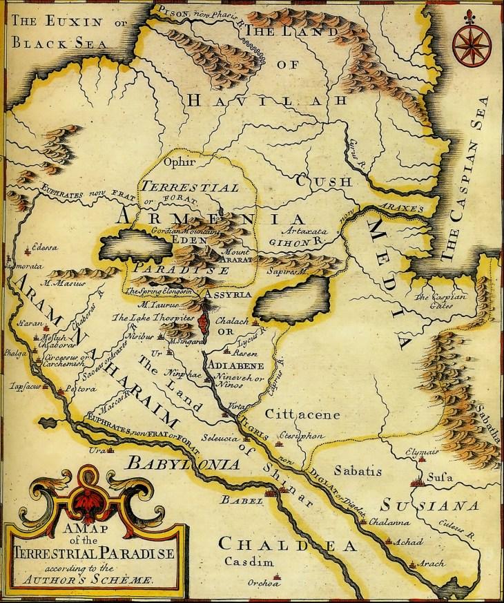 A Map of the Terrestrial Paradise, Emmanuel Bowwen (1780)