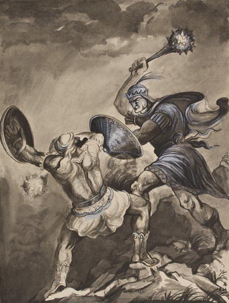 Alek'sanyan Sargis T'vorosi (1910 - 1942)  David of Sasoun book illustration David and Msra Melik battle