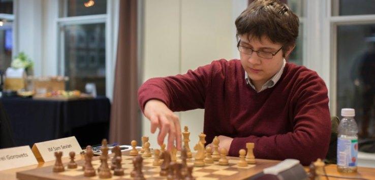 Sam Sevian playing chess at CCSCSL Invitational
