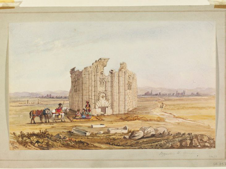 Ancient Armenian Church at Varzahan by Frederick Cooper 1849