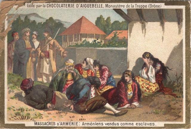 Card illustrating Hamidian massacres of Armenians 1889