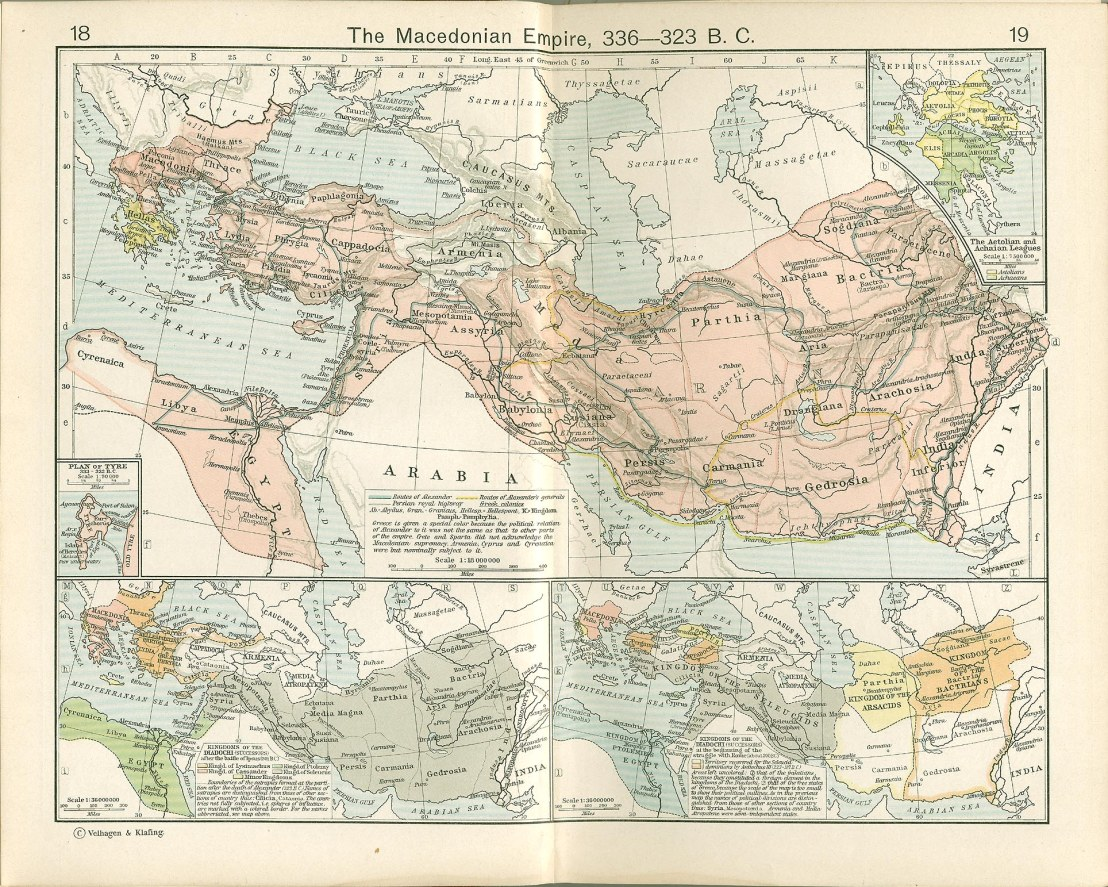 The Macedonian Empire, 336-323 B.C. and Kingdoms of the Diadochi . Historical Atlas by William R. Shepherd, 1911