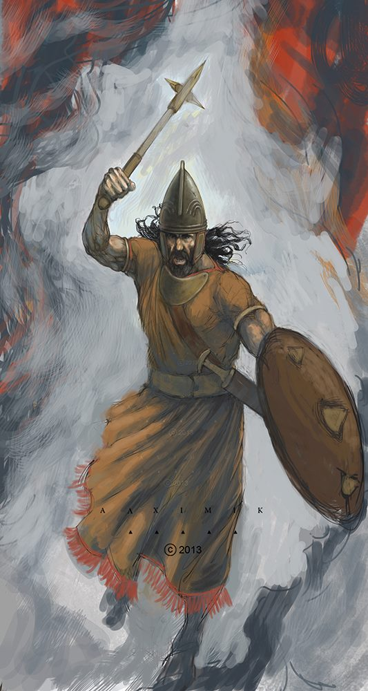 Armenian warrior of Ararat (Urartu) period. Historic illustration by Alximik