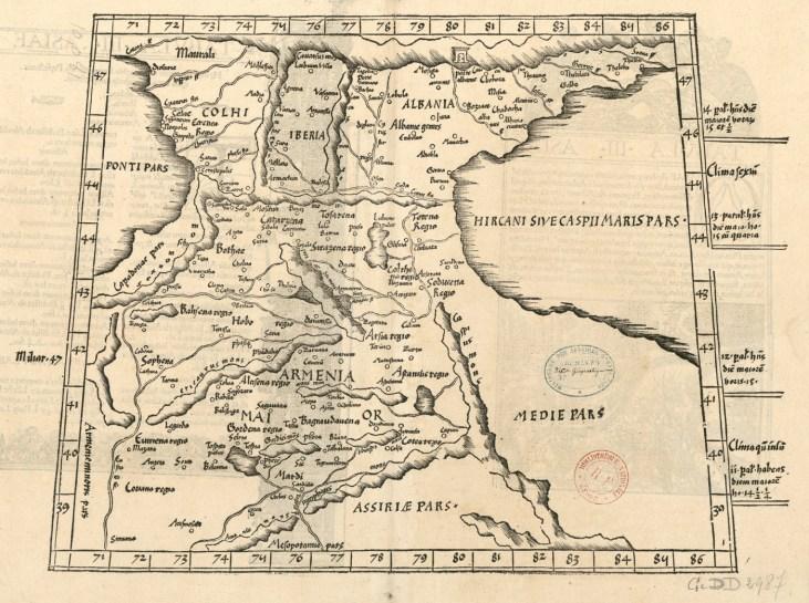 Asiae Tabula III Colchis, Iberia, Albania, Armenia, 1535