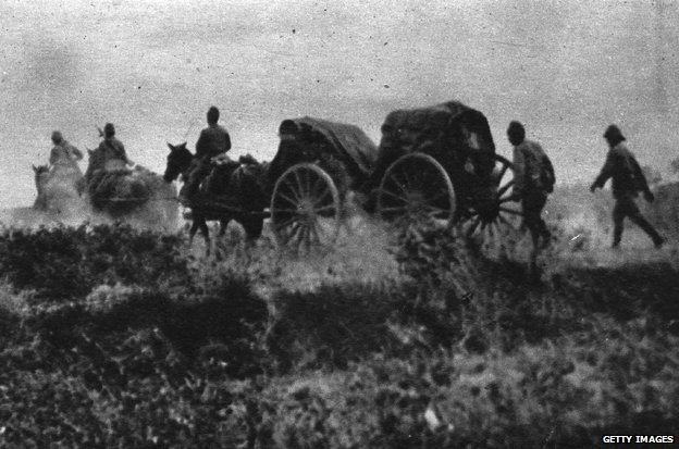 Circa 1940: Japanese Field Artillery on the march against Yangon in Burma