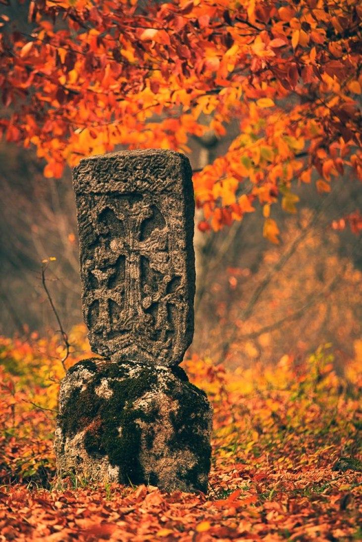 Khachkar in the forest of Dilijan, Tavush (Armenia)