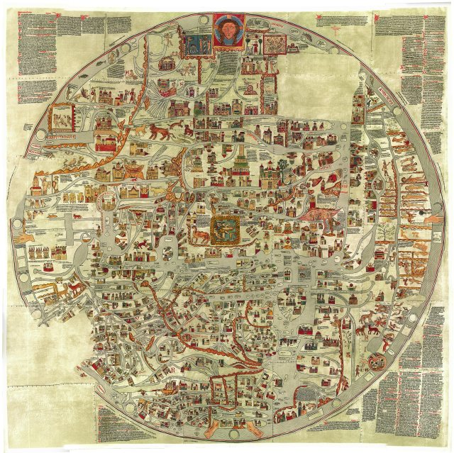 """The Ebstorf mappamundi was drawn in 13th century Saxony and depicts the Christian worldview within the body of a crucified Christ. The map illustrates both the """"known world"""" as well as significant landmarks and points of interest for the curious pilgrim."""