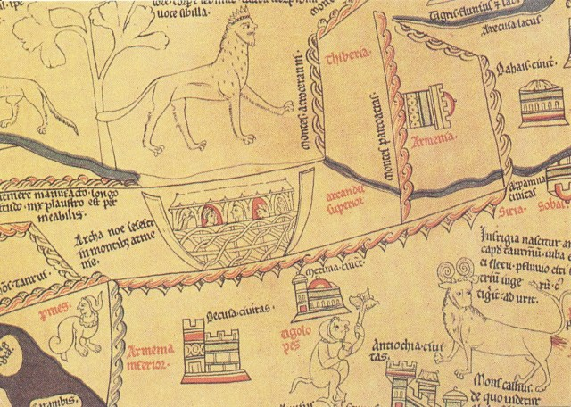 Hereford Cathedral Mappa Mundi 13th century Armenian mountains where Noah's Ark came to rest