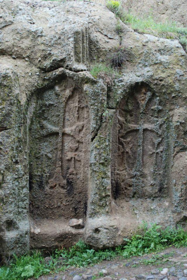 Khachkars of 4th century Geghard Monastery - Armenia