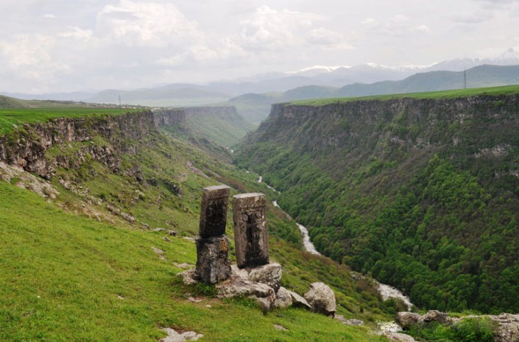 Koghes gorge with medieval Armenian cross-stones Alaverdi Armenia.