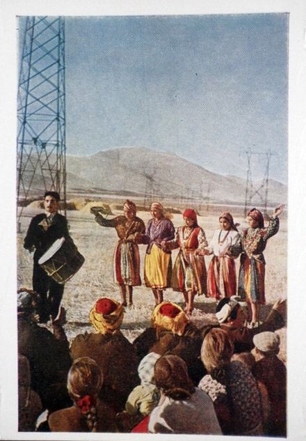 Kolkhoz amateur performers - folk costumes - drummer - 1957 - Armenia USSR