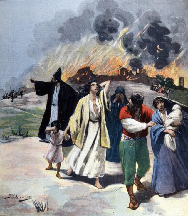Hamidian massacres of Armenians (1894-1896 ) Illustration de Silhouette. 1895