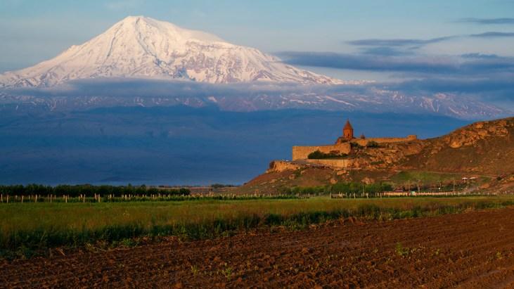 Location of anicent Artashat, Armenia. Khor Virap and Ararat-Landscape