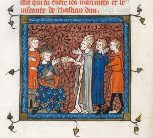 Louis IX receiving Armenian envoys (Saint Louis, book 19) - Grandes Chroniques de France, c.1332-1350 AD. - British Library