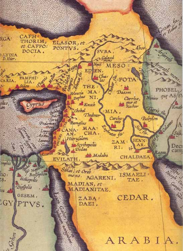 Map from the atlas Theatre of the World by Abraham Ortelius featuring Eden in Armenia. Antwerp, 1601