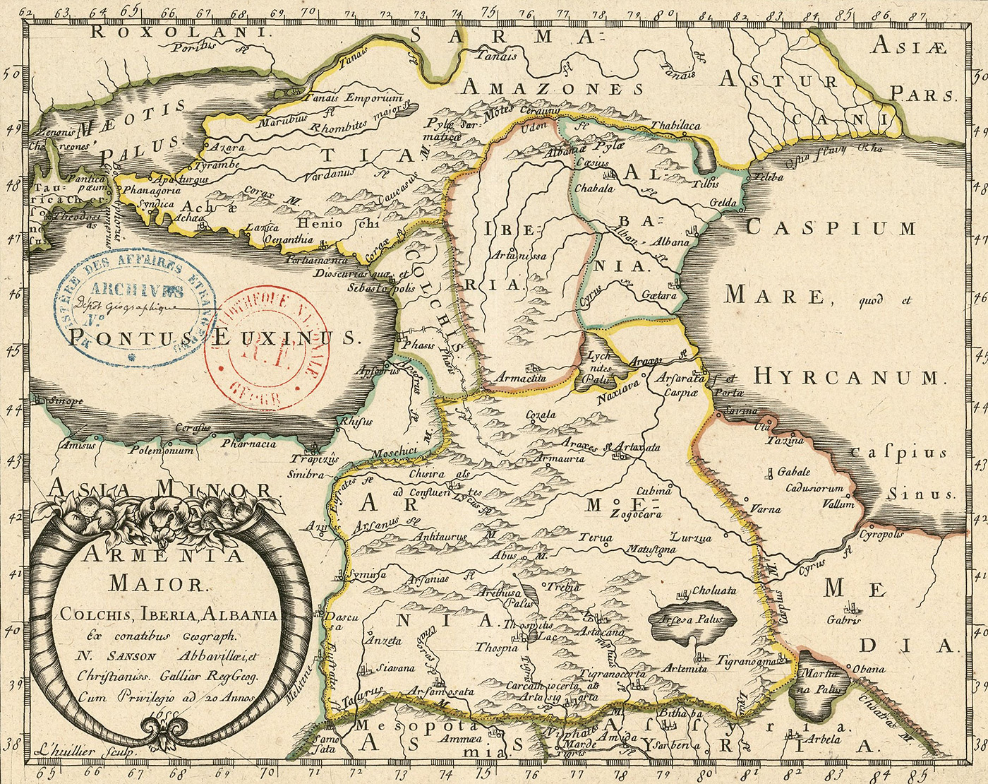 Map of Armenia Major, Colchis, Iberia, Albania 1655 - PeopleOfAr