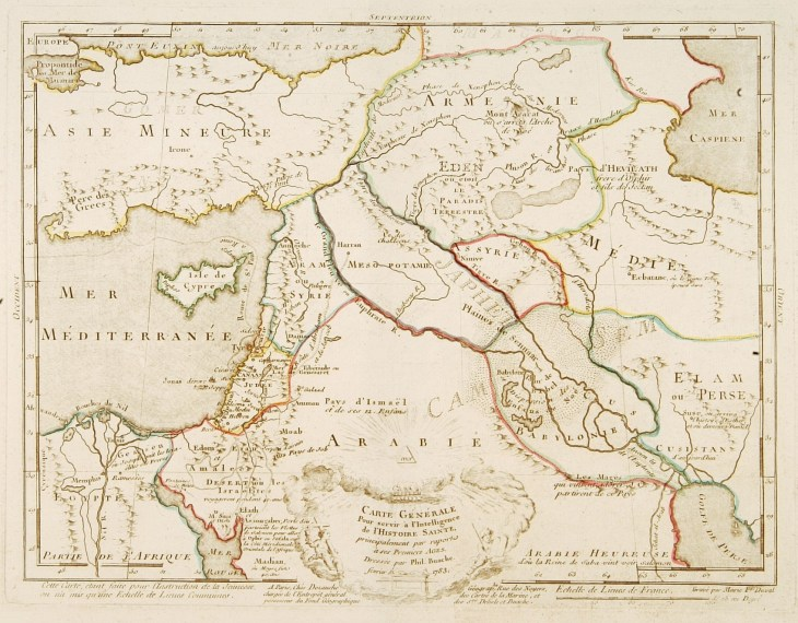 "Fine map of the Middle East, including the Holy Land, Cyprus, Iran and Irak, etc. Philippe Buache was one of the most active proponents of the so-called ""school of theoretical cartography"" active in mid-18th century France. Published by Dezauche and engraved by Marie F. Duval."