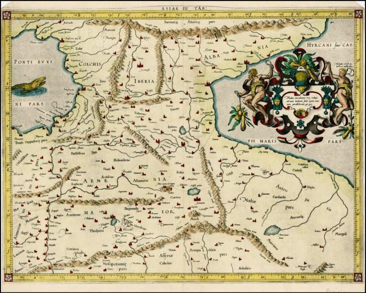 Map of Armenia Major, Colchis, Iberia, Albania -1579