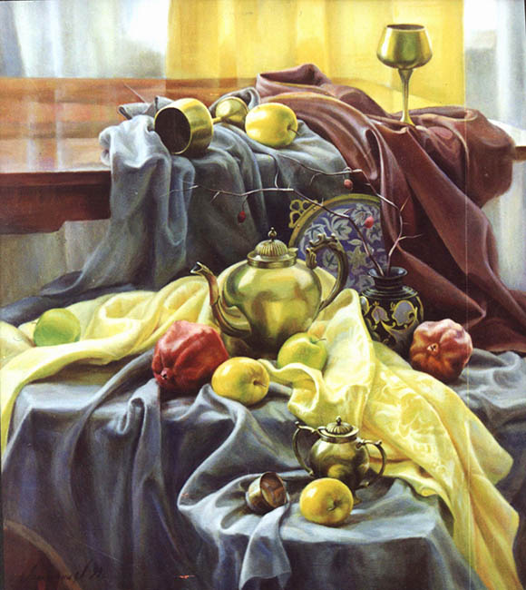 Still life with pomegranates oil on canvas