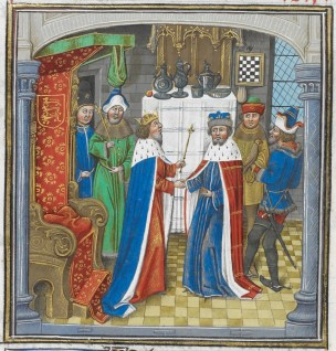 The King of Armenia having an audience with Richard II at Westminster (book 5, chapter 7). - Jehan de Wavrin, Anciennes et nouvelles chroniques d'Angleterre (c 1470-c 1480) - British Library