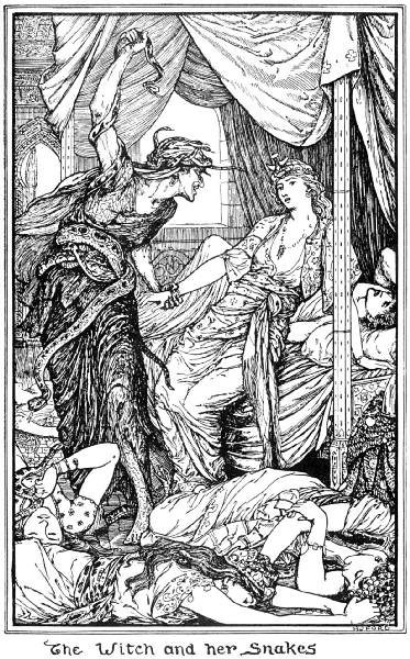 The Witch and her snakes, illustration from The Tale of Zoulvisia