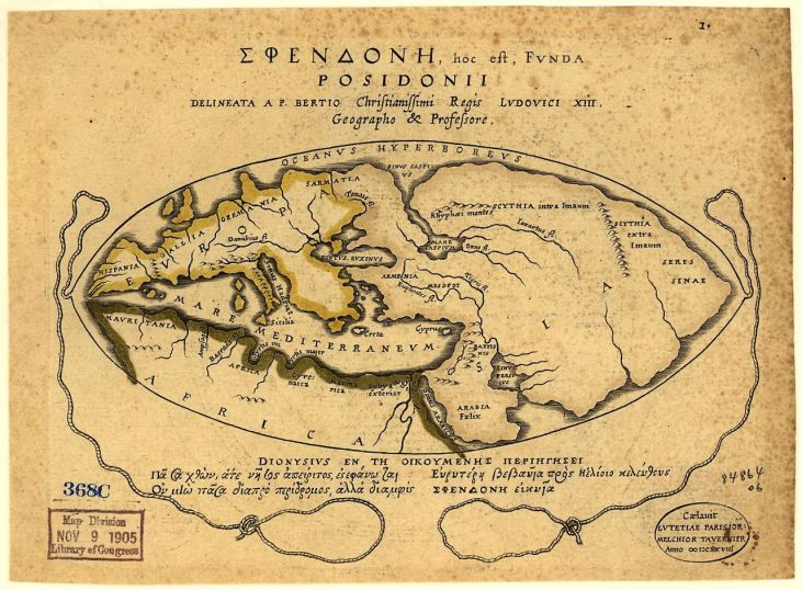 This map of the world according to Posidonius 1st c. BCE