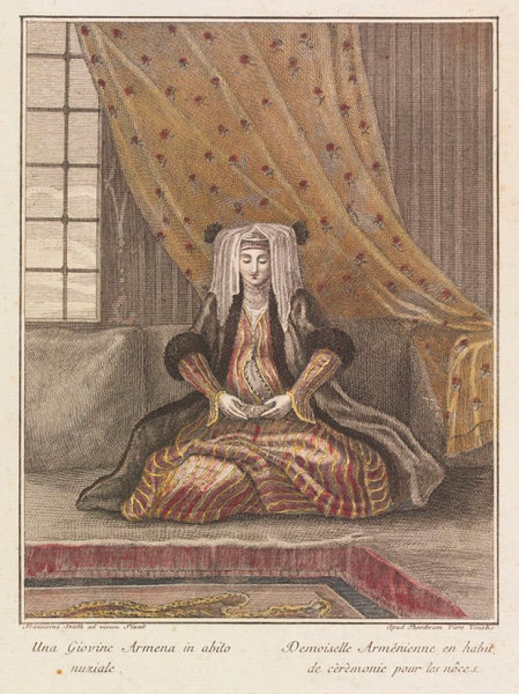 Woman in Armenian marriage dress, from a volume entitled 'Raccolta di 120 Stampe, che rappresentano, Figure, ed Abiti di varie Nazione' by Viero 1783-90