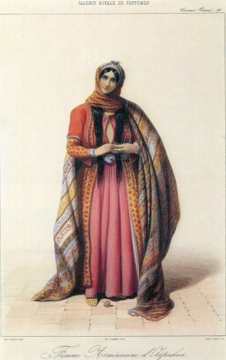 Armenian lady of Isfahan (1850 from the European lithography, by Janeta Lanzh (publication, Eugéne Flandin)