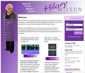 Hilary's website has a very different look and feel